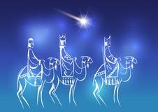 Tre kloka män besöker Jesus Christ efter hans födelse stock illustrationer