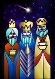 Tre kloka män besöker Jesus Christ efter hans födelse Arkivbild