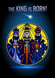 Tre kloka män besöker Jesus Christ efter hans födelse Arkivfoton