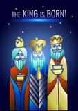 Tre kloka män besöker Jesus Christ efter hans födelse royaltyfri bild