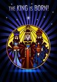 Tre kloka män besöker Jesus Christ efter hans födelse Arkivfoto