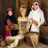 Tre kloka män i julkrubba Royaltyfria Bilder
