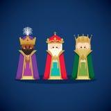 Tre kloka män som kommer med gåvor till Jesus vektor illustrationer