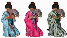 Tre knäfalla geishakvinnor Arkivbild
