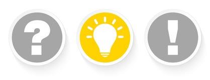 Tre knappar ifrågasätter idén och svaret Grey And Yellow royaltyfri illustrationer