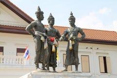 Tre konungar monument, Chiang Mai, Thailand Royaltyfria Bilder