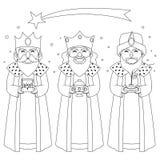 Tre konungar som färgar linjen konst vektor illustrationer