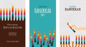 Tre kort för judisk ferie, hanukkah royaltyfri illustrationer
