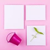 Tre kort på rosa bakgrund Royaltyfria Foton