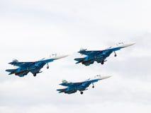 Tre kraftiga Su-27 Royaltyfria Foton
