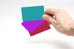 Tre kreditkortar Arkivbilder