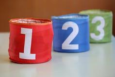 tre krus för leker med på nummer ett två tre och numret Royaltyfri Fotografi