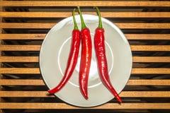 Tre kryddiga chilipeppar Royaltyfri Foto