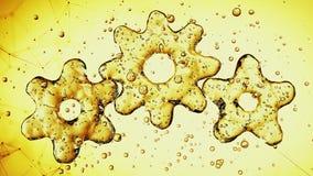 Tre kugghjul som 3d göras av olja illustration 3d stock video