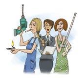 tre kvinnaarbetare Royaltyfri Bild
