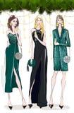 Tre kvinnor i aftonklänning arkivfoton