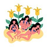 Tre kvinnor i bikinier på bakgrunden av blommor genom att använda en smartphone också vektor för coreldrawillustration stock illustrationer
