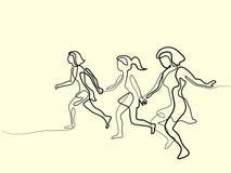 Tre löpare - fortlöpande linje teckning vektor illustrationer