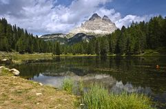 tre lago antorno cime di доломита Италии Стоковые Изображения