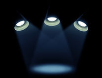 Tre lampade su un fondo nero Fotografie Stock