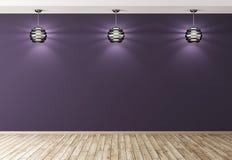 Tre lampor över tolkning för bakgrund 3d för purpurfärgad vägg inre royaltyfri illustrationer