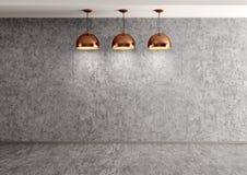 Tre lampor över tolkning för betongvägg 3d stock illustrationer