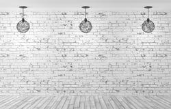 Tre lampor över tolkning för tegelstenvägg 3d stock illustrationer