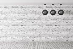 Tre lampor mot av tolkning för bakgrund 3d för tegelstenvägg vektor illustrationer