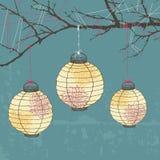 Tre lanterne di carta Fotografie Stock