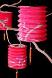 Tre lanterne di carta cinesi Fotografia Stock Libera da Diritti