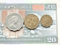 Tre lappar av den Hong Kong dollaren myntar Arkivbild