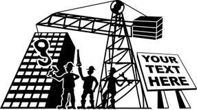 Tre lavoratori ad un cantiere con gli strumenti illustrazione vettoriale