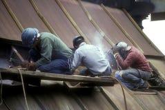 Tre lavoratori dell'industria siderurgica Fotografia Stock Libera da Diritti