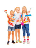 Tre le flickor med borstar Fotografering för Bildbyråer