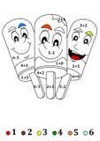 Tre lecca lecca sorridenti felici come contando per i bambini Fotografie Stock