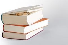 Tre libri e messaggi - visione Fotografia Stock Libera da Diritti