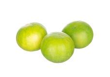 Tre limefrukter som isoleras på vit Arkivfoto