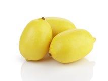 Tre limoni maturi freschi isolati su bianco Immagine Stock Libera da Diritti