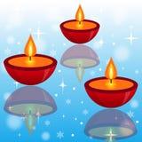 Tre ljusa härliga ljusstakar på en abstrakt bakgrund royaltyfri illustrationer