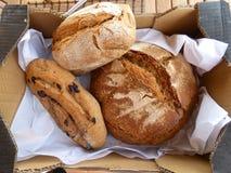 Tre loaves av artisanal bröd arkivbild