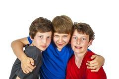 Tre lyckliga glade vänner tycker om arkivbild