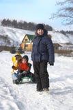 Tre lyckliga pojkar Royaltyfria Foton
