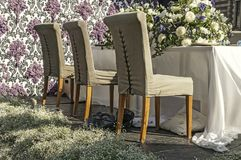 Tre lyxiga stolar som står bredvid eacht annan Fotografering för Bildbyråer