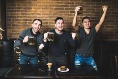 Tre män med öl jublar segern av deras favorit- lag i baren Bardrinköl royaltyfria bilder
