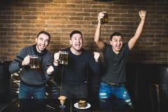Tre män med ölmålskri av deras favorit- lag i baren Bardrinköl arkivbilder