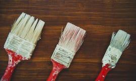 Tre måla borstar Royaltyfri Fotografi