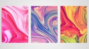 Tre målningar med att marmorera som bakgrund är kan marmorera använd textur måla färgstänk Färgrik vätska royaltyfri illustrationer