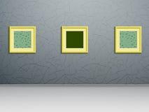 Tre målningar på väggen Royaltyfri Fotografi