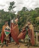 Tre Maasai med hans målade framsida Arkivfoto