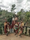 Tre Maasai med hans målade framsida Royaltyfri Bild